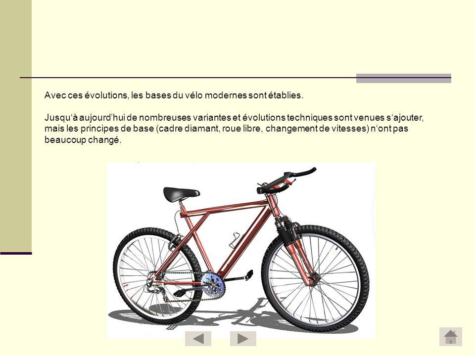 Avec ces évolutions, les bases du vélo modernes sont établies.