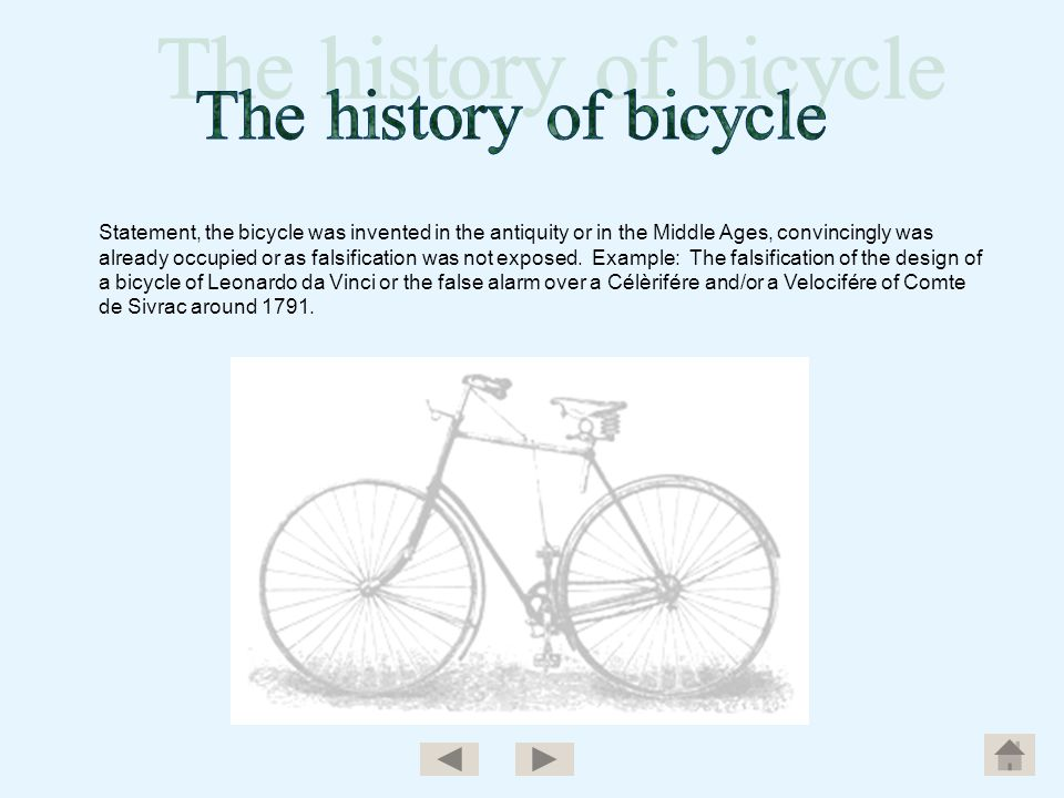 The history of bicycle