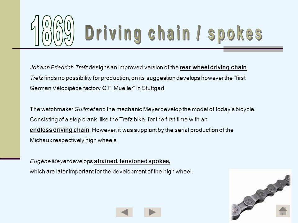 1869Driving chain / spokes. Johann Friedrich Trefz designs an improved version of the rear wheel driving chain.
