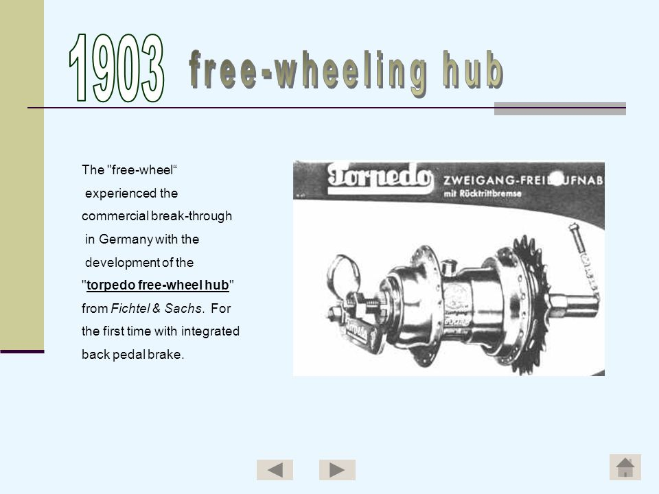1903 free-wheeling hub The free-wheel experienced the