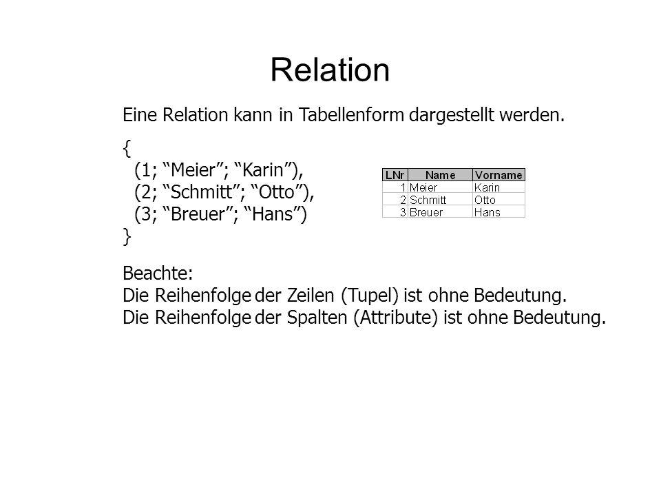 Relation Eine Relation kann in Tabellenform dargestellt werden. {