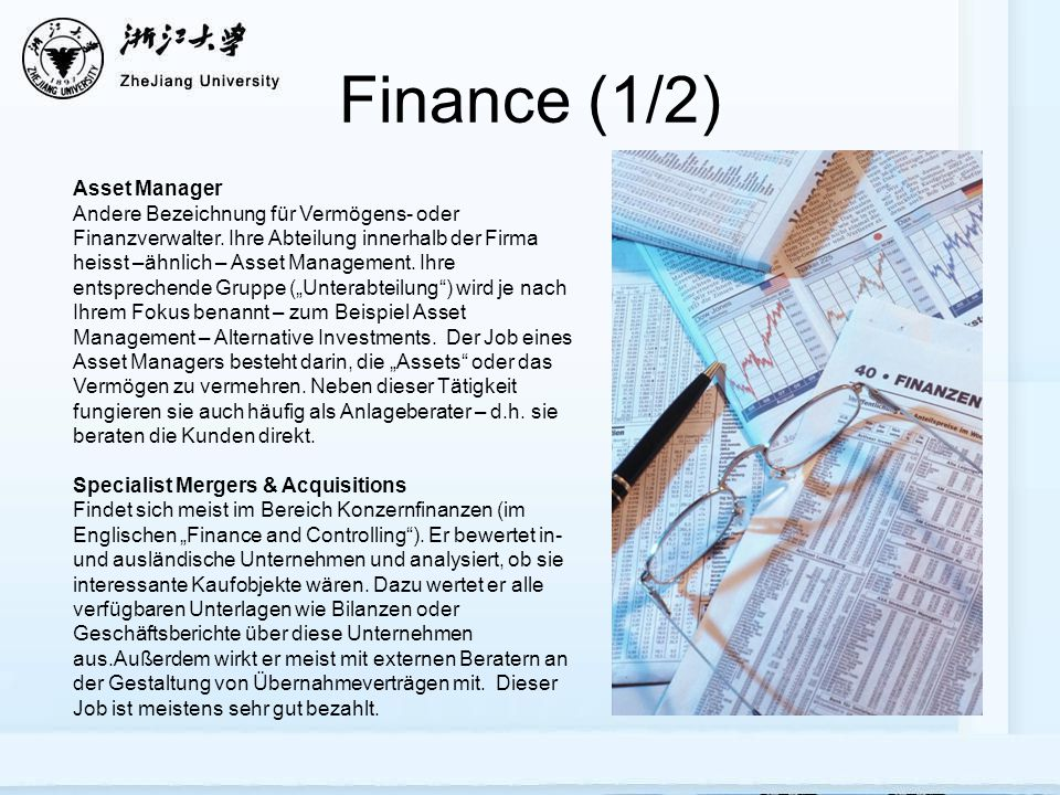 Finance (1/2) Asset Manager