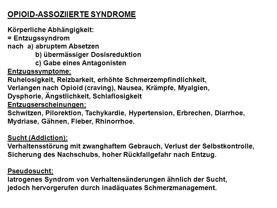 OPIOID-ASSOZIIERTE SYNDROME