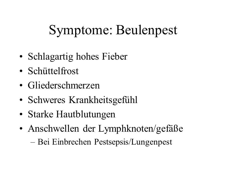 Symptome: Beulenpest Schlagartig hohes Fieber Schüttelfrost