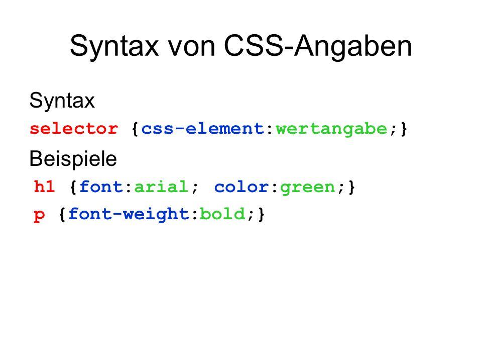 Syntax von CSS-Angaben