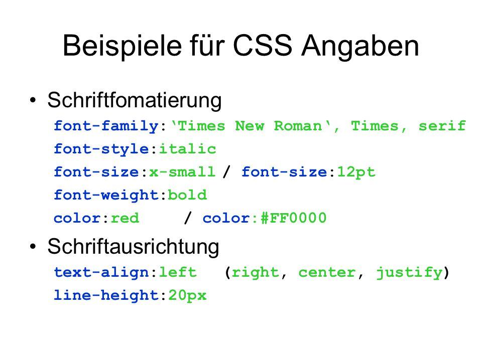 Beispiele für CSS Angaben