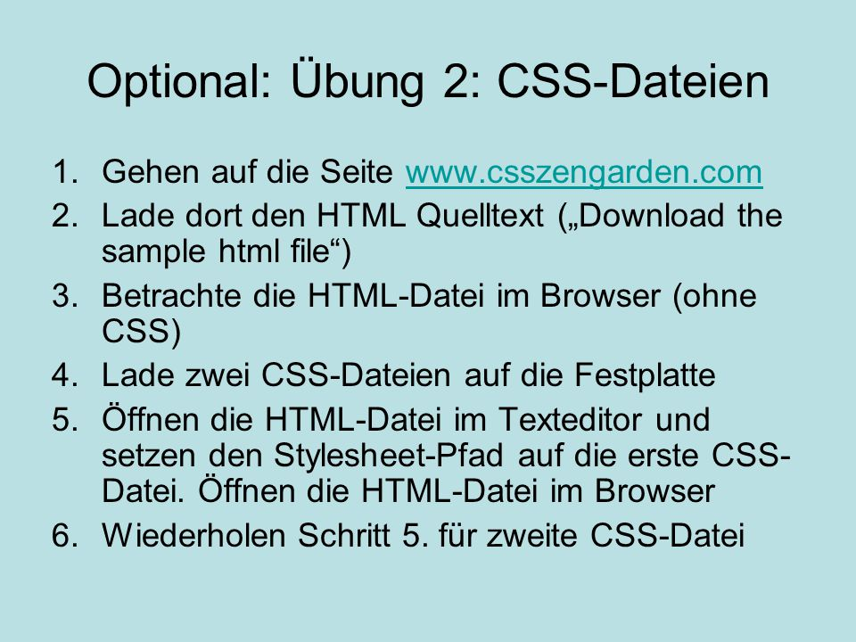 Optional: Übung 2: CSS-Dateien