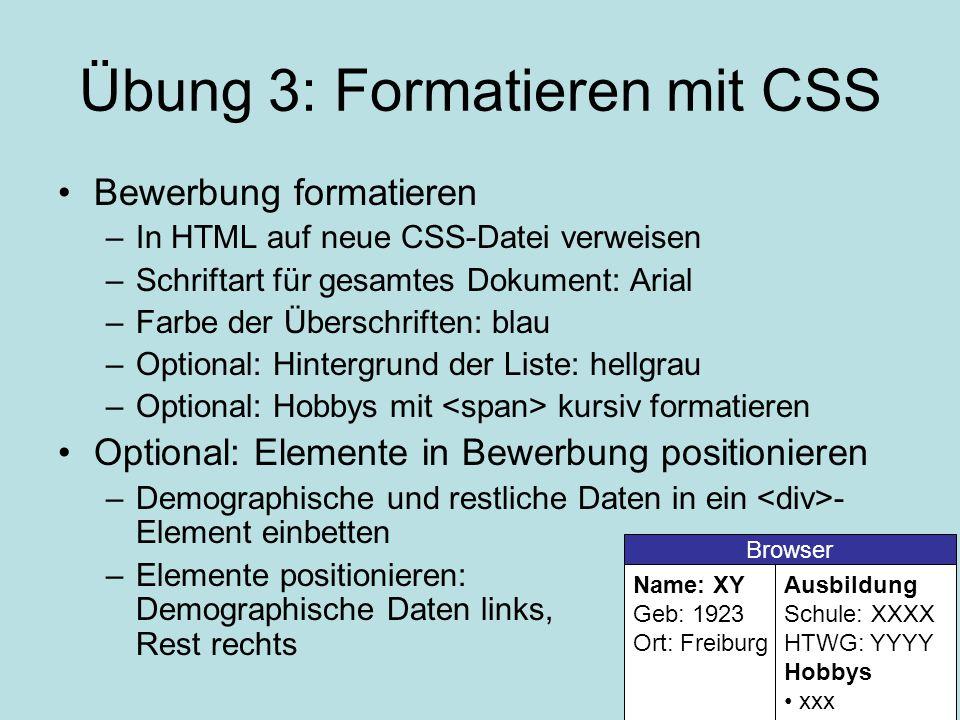 Übung 3: Formatieren mit CSS