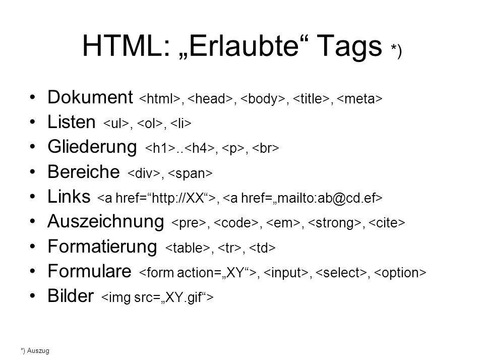 "HTML: ""Erlaubte Tags *)"