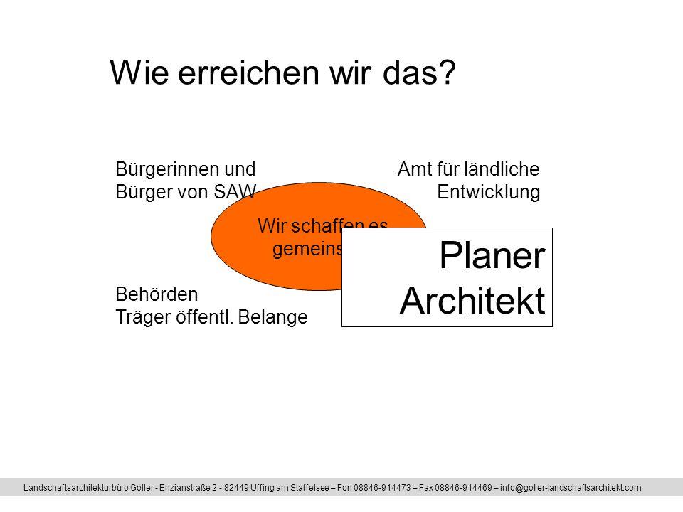 Planer Architekt Wie erreichen wir das Bürgerinnen und Bürger von SAW
