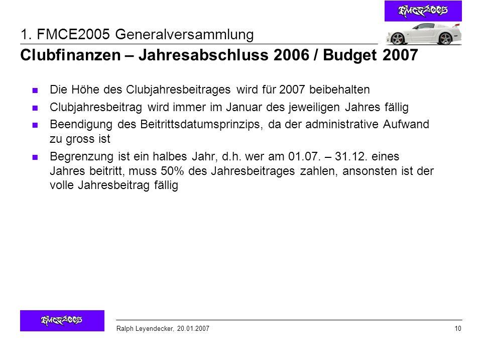 Clubfinanzen – Jahresabschluss 2006 / Budget 2007