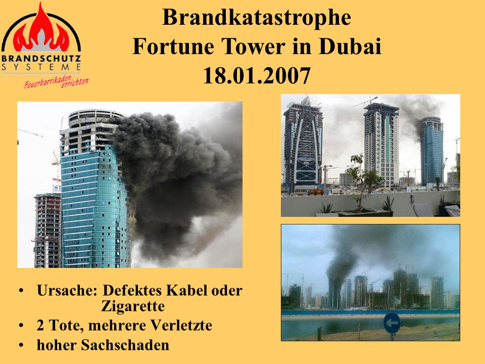 Brandkatastrophe Fortune Tower in Dubai 18.01.2007