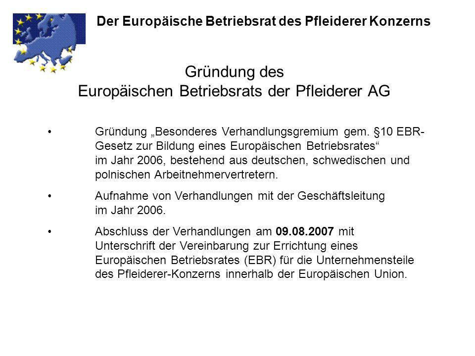 Gründung des Europäischen Betriebsrats der Pfleiderer AG