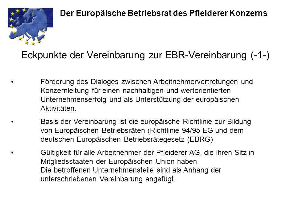 Eckpunkte der Vereinbarung zur EBR-Vereinbarung (-1-)