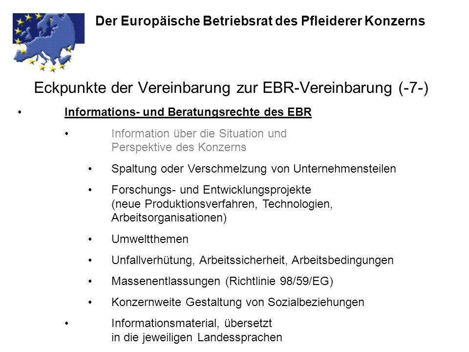 Eckpunkte der Vereinbarung zur EBR-Vereinbarung (-7-)
