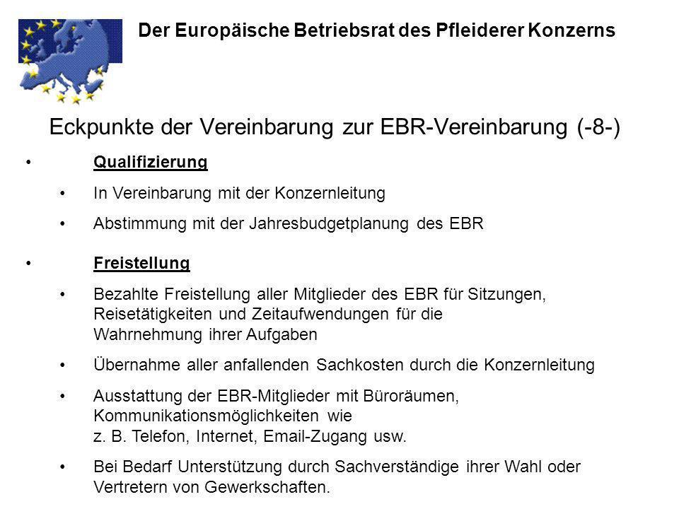 Eckpunkte der Vereinbarung zur EBR-Vereinbarung (-8-)