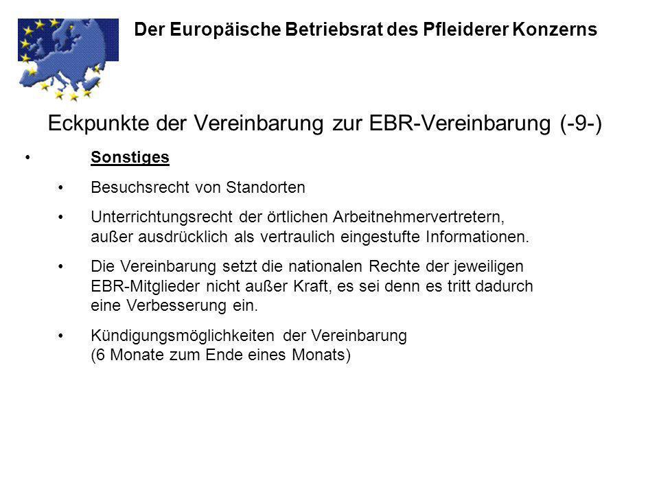 Eckpunkte der Vereinbarung zur EBR-Vereinbarung (-9-)