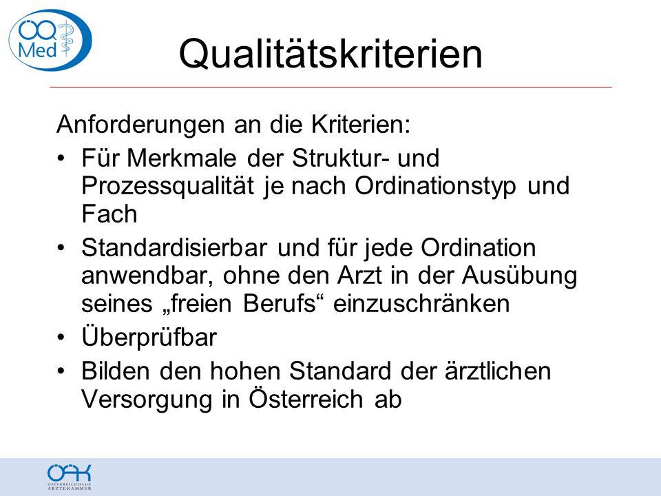 Qualitätskriterien Anforderungen an die Kriterien: