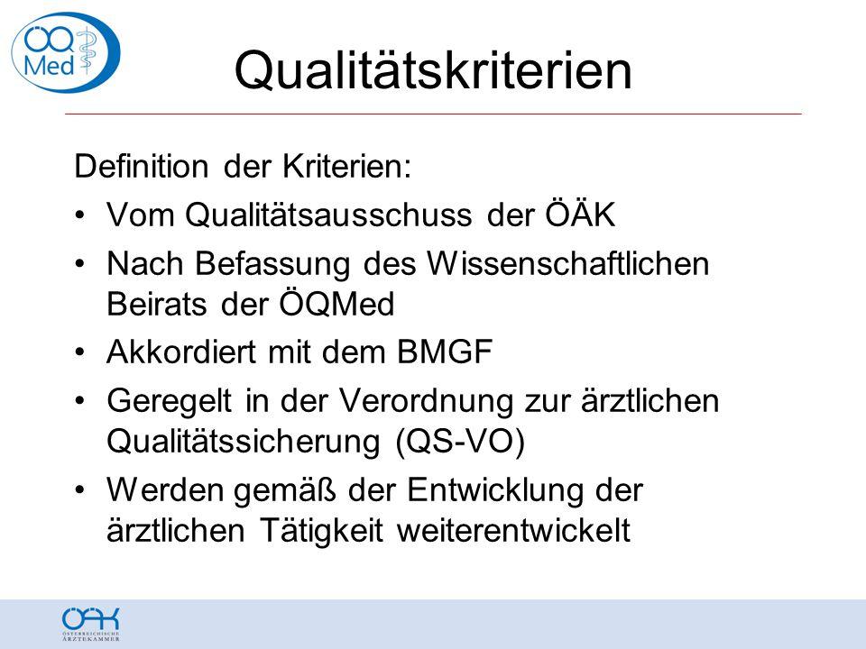 Qualitätskriterien Definition der Kriterien: