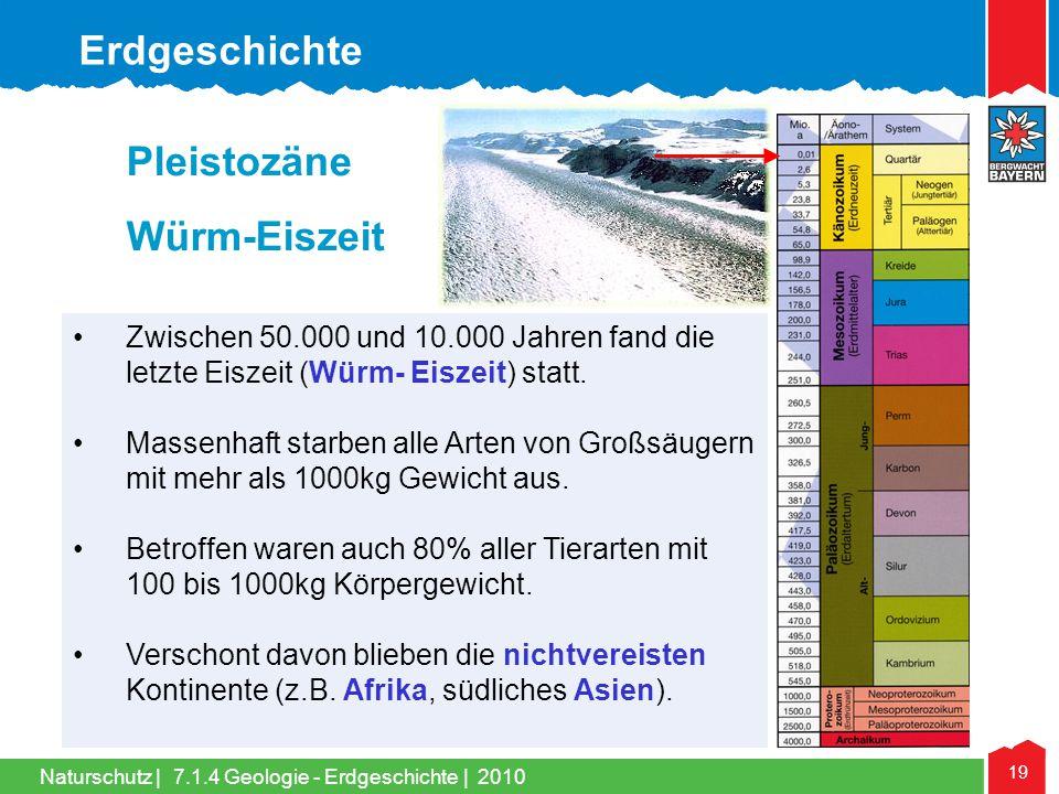 Erdgeschichte Pleistozäne Würm-Eiszeit
