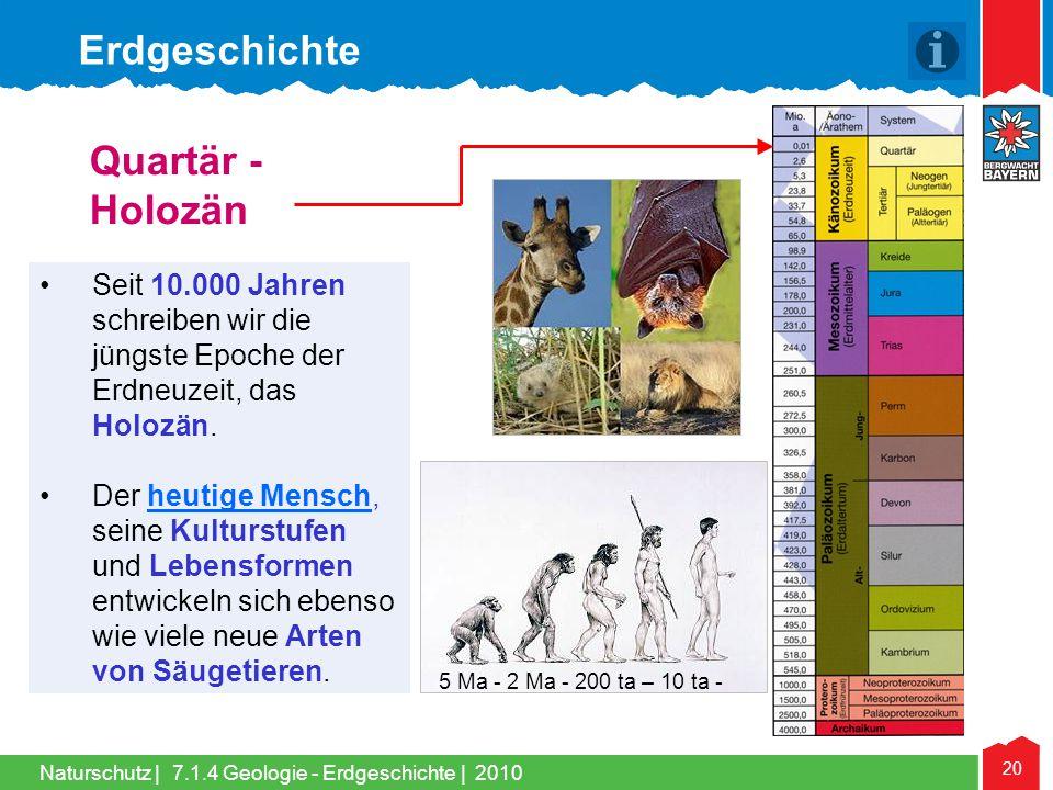 Erdgeschichte Quartär - Holozän