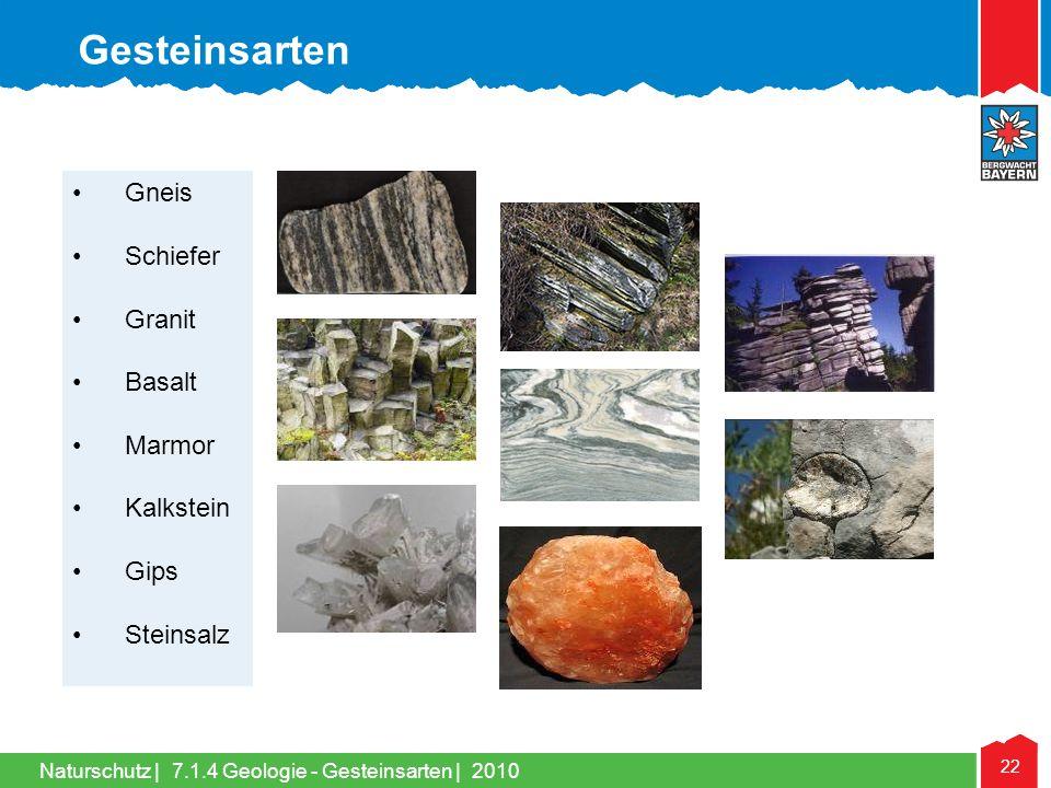 Gesteinsarten Gneis Schiefer Granit Basalt Marmor Kalkstein Gips