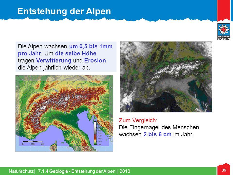 Entstehung der Alpen Die Alpen wachsen um 0,5 bis 1mm pro Jahr. Um die selbe Höhe tragen Verwitterung und Erosion die Alpen jährlich wieder ab.