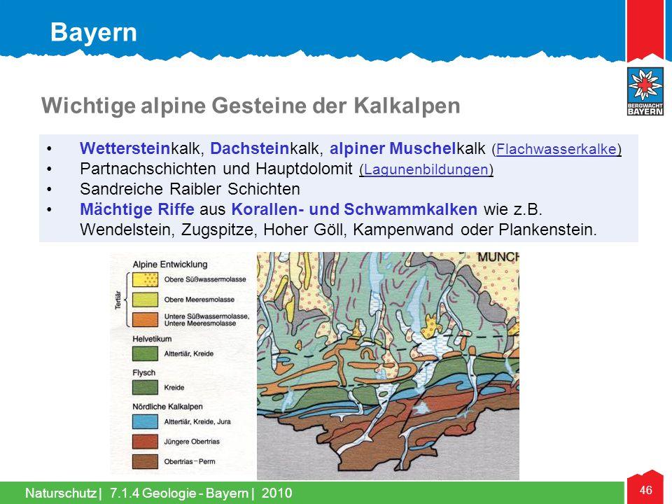 Bayern Wichtige alpine Gesteine der Kalkalpen