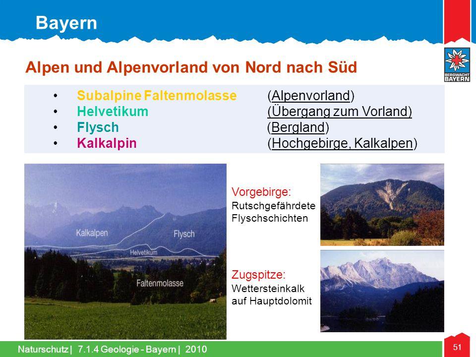 Bayern Alpen und Alpenvorland von Nord nach Süd