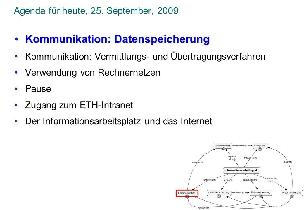 Agenda für heute, 25. September, 2009