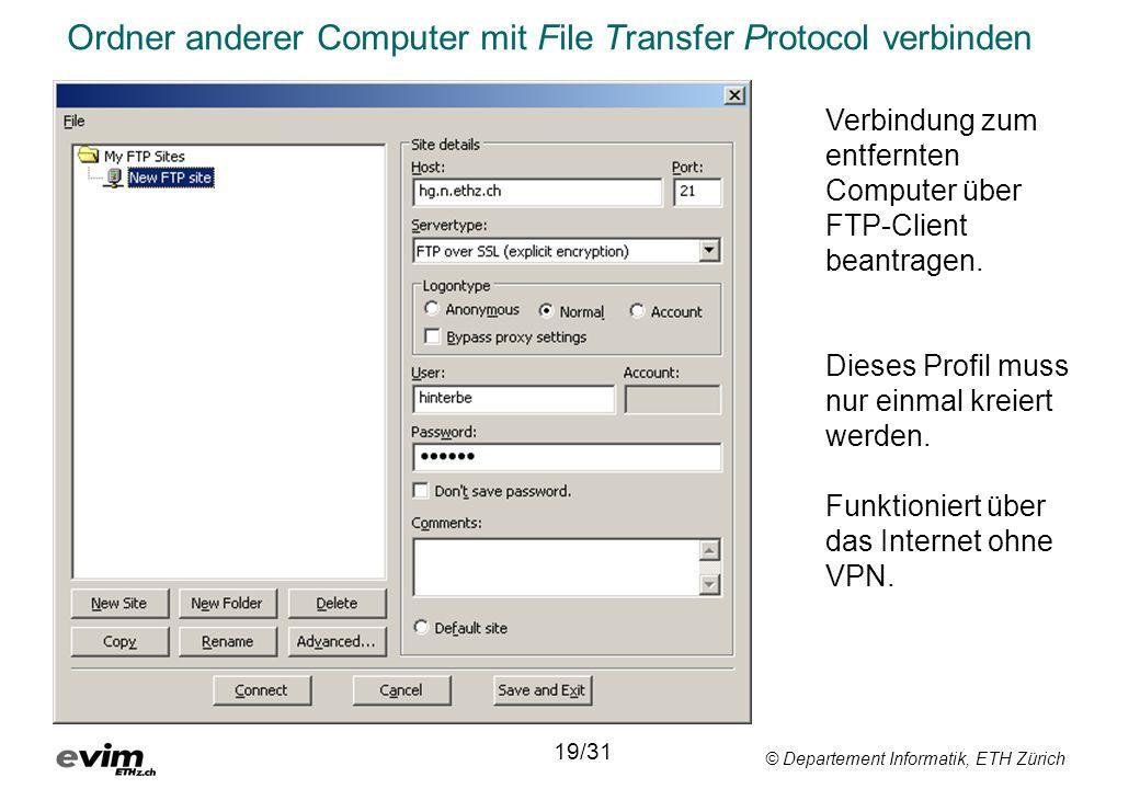 Ordner anderer Computer mit File Transfer Protocol verbinden