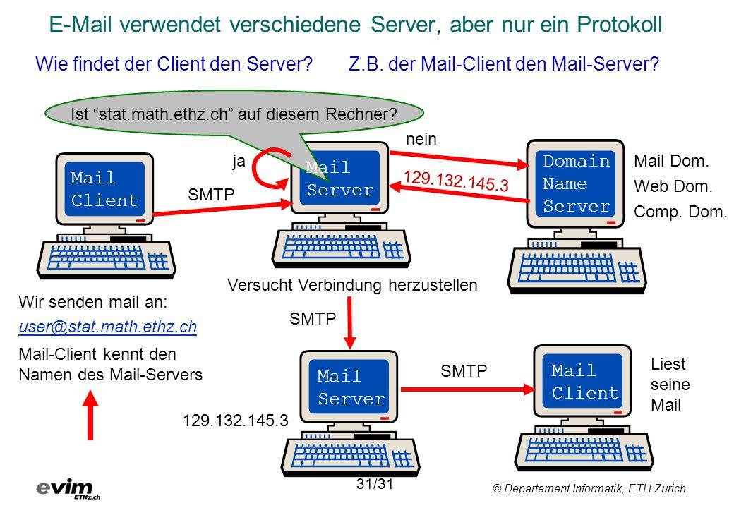 E-Mail verwendet verschiedene Server, aber nur ein Protokoll
