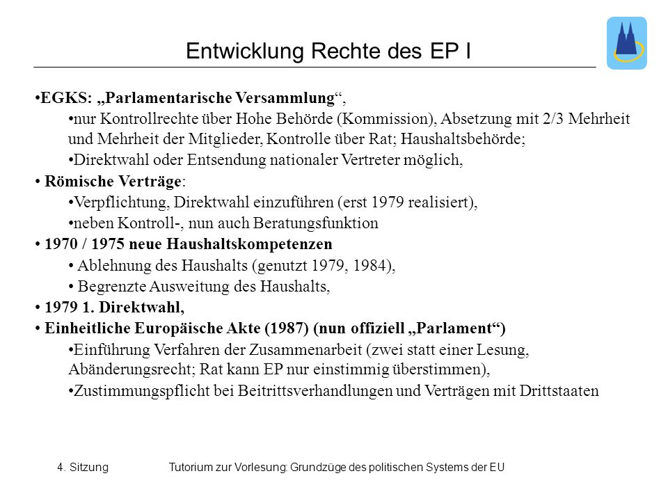 Entwicklung Rechte des EP I