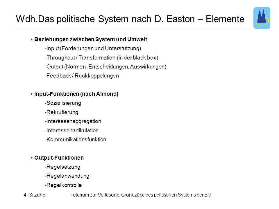 Wdh.Das politische System nach D. Easton – Elemente