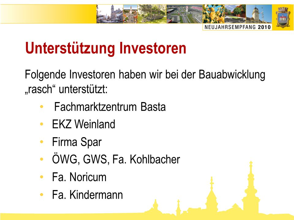 Unterstützung Investoren