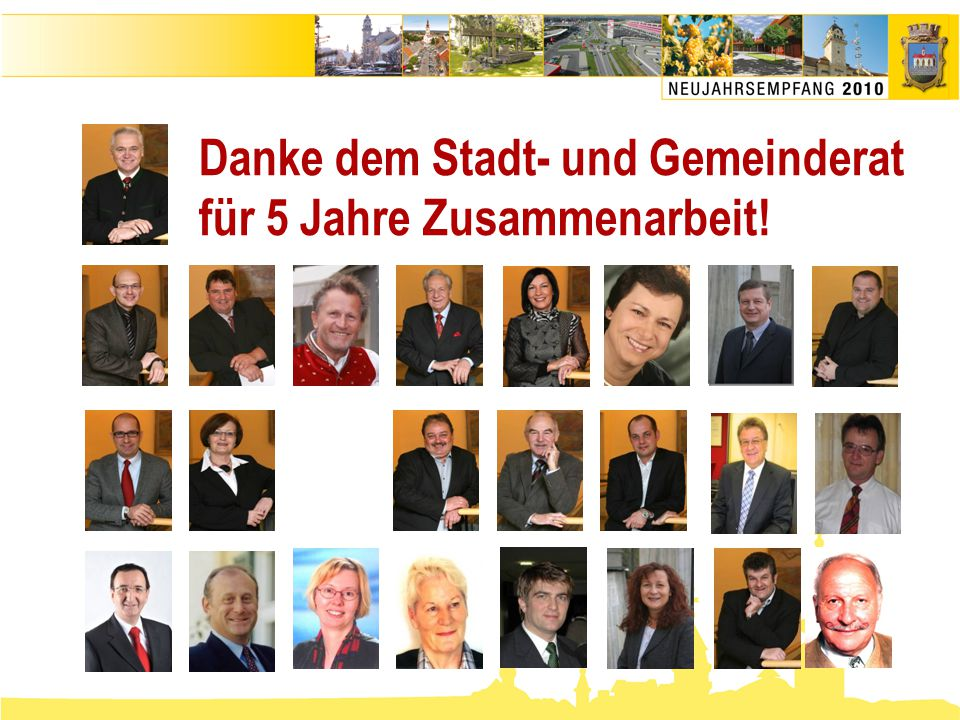 Danke dem Stadt- und Gemeinderat für 5 Jahre Zusammenarbeit!