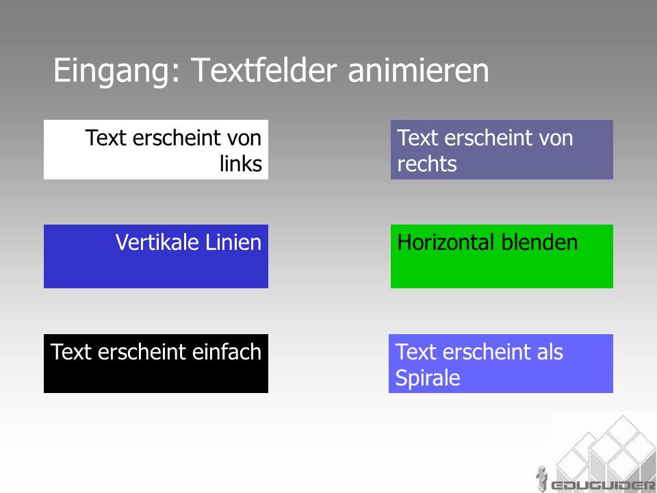 Eingang: Textfelder animieren