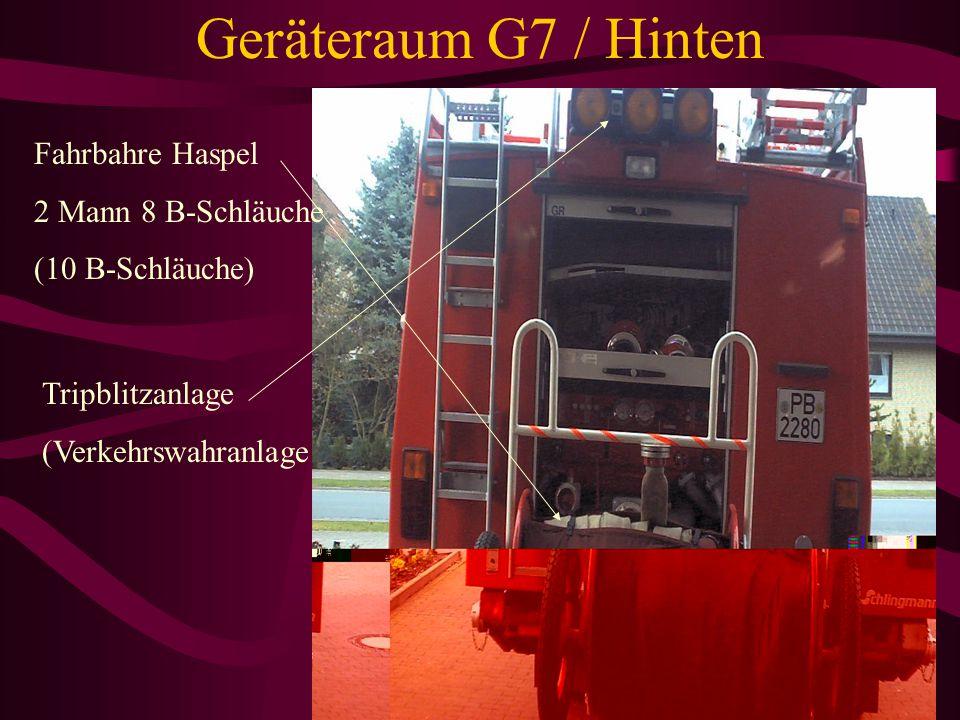 Geräteraum G7 / Hinten Fahrbahre Haspel 2 Mann 8 B-Schläuche