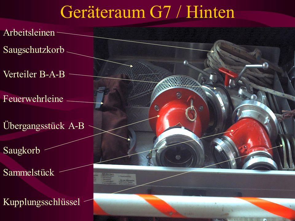 Geräteraum G7 / Hinten Arbeitsleinen Saugschutzkorb Verteiler B-A-B