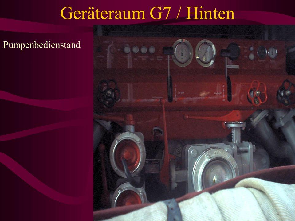 Geräteraum G7 / Hinten Pumpenbedienstand