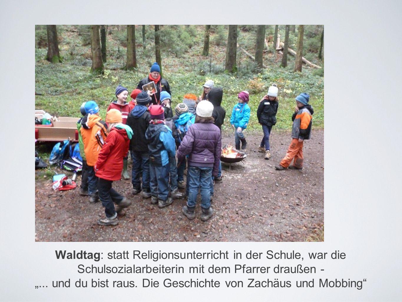 """Waldtag: statt Religionsunterricht in der Schule, war die Schulsozialarbeiterin mit dem Pfarrer draußen - """"..."""