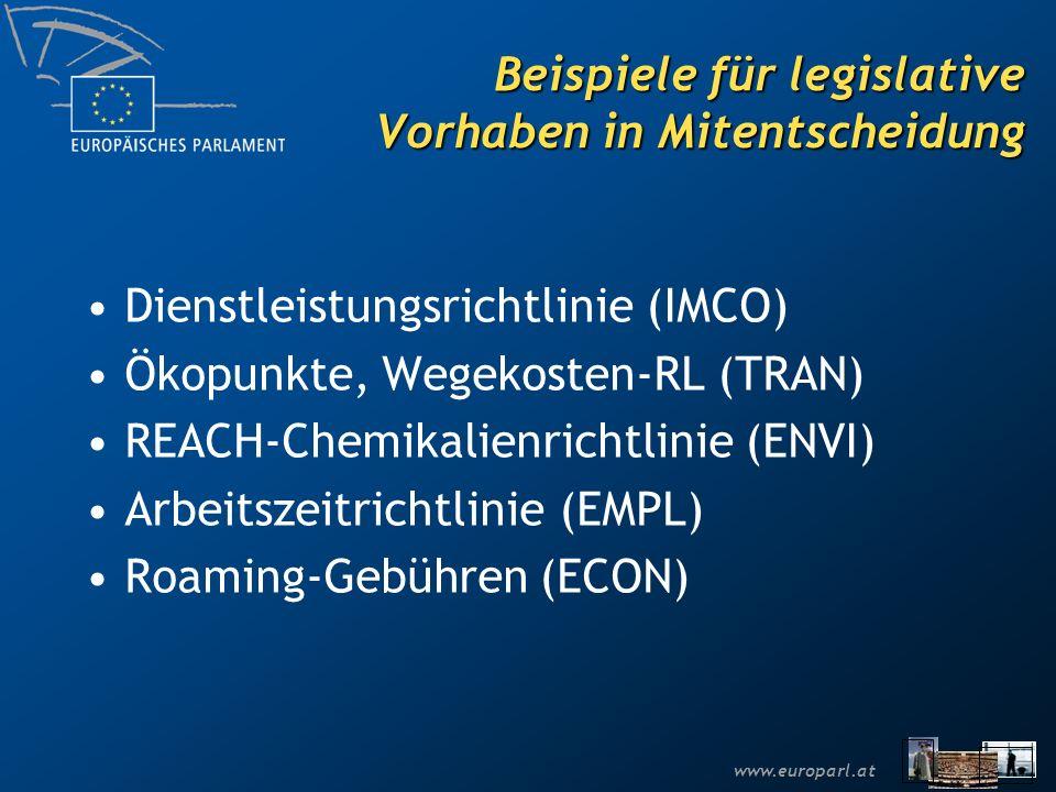 Beispiele für legislative Vorhaben in Mitentscheidung
