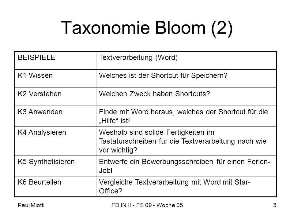Taxonomie Bloom (2) BEISPIELE Textverarbeitung (Word) K1 Wissen