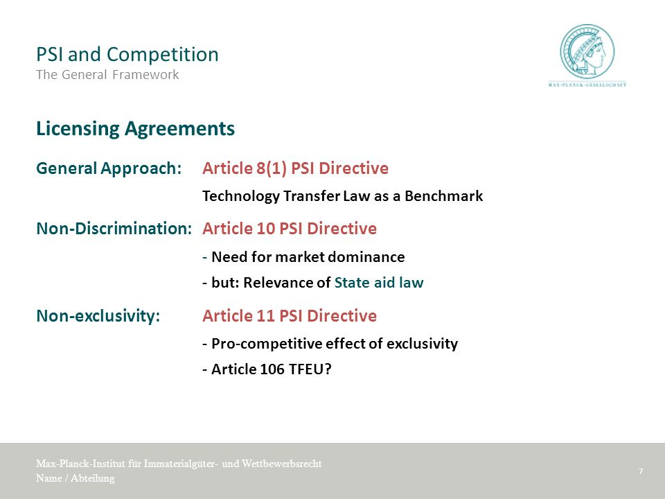 PSI and Competition The General Framework