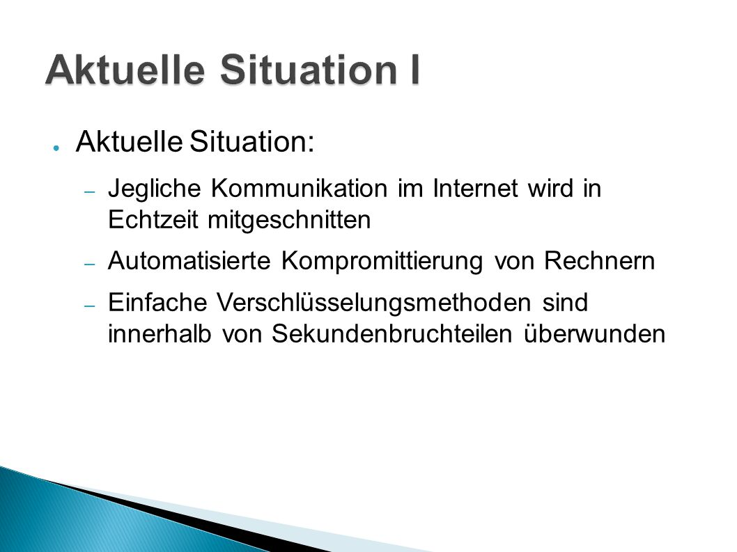 Aktuelle Situation I Aktuelle Situation: