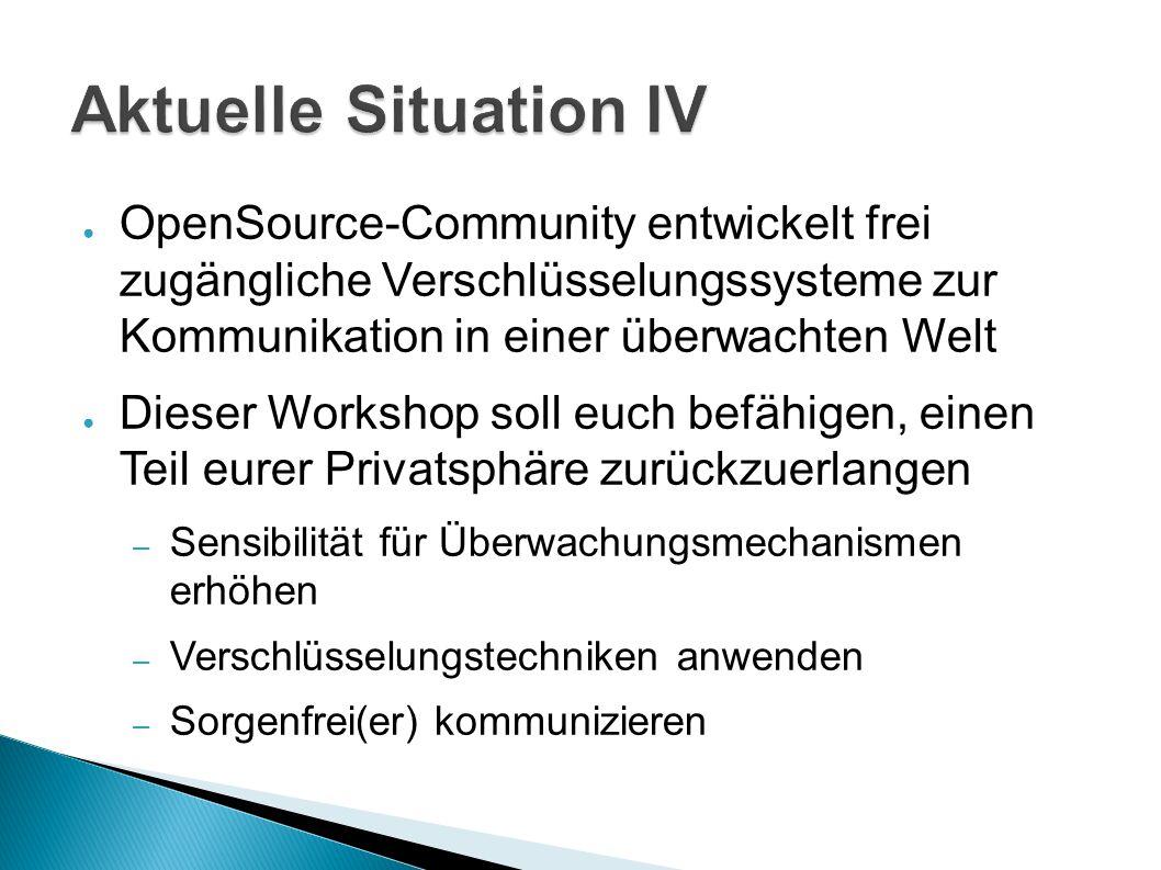 Aktuelle Situation IV OpenSource-Community entwickelt frei zugängliche Verschlüsselungssysteme zur Kommunikation in einer überwachten Welt.
