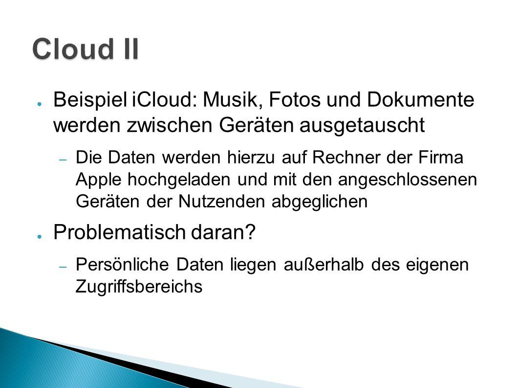 Cloud II Beispiel iCloud: Musik, Fotos und Dokumente werden zwischen Geräten ausgetauscht.