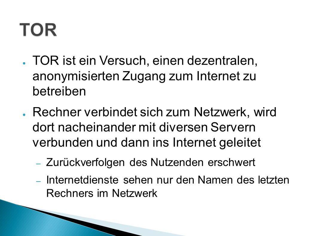 TOR TOR ist ein Versuch, einen dezentralen, anonymisierten Zugang zum Internet zu betreiben.