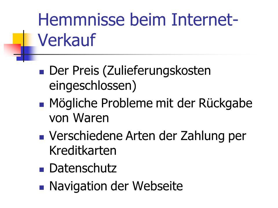 Hemmnisse beim Internet- Verkauf