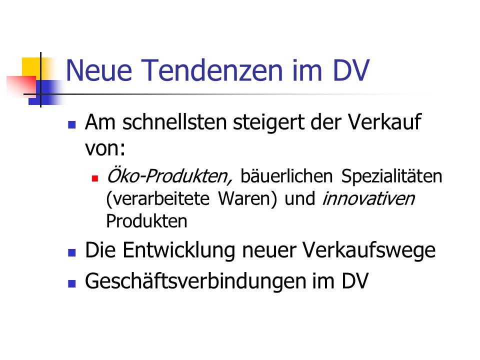 Neue Tendenzen im DV Am schnellsten steigert der Verkauf von: